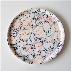 Marbled Round Tray Floating Florals