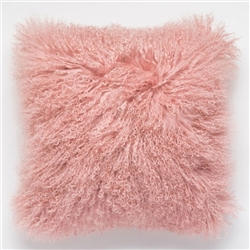 Tibetan Fur Pillow Salmon