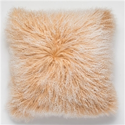 Tibetan Fur Pillow Camel Tipped