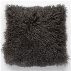 Tibetan Fur Pillow Dark Gray