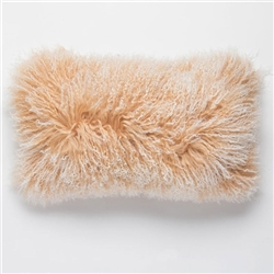 "Tibetan Lumbar Fur Pillow Camel Tipped 22"" x 12"""