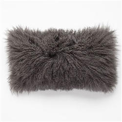 "Tibetan Lumbar Fur Pillow Dark Gray 22"" x 12"""
