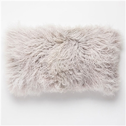 Tibetan Lumbar Fur Pillow Light Gray