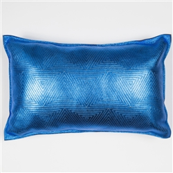 Meet Pattern Pillow, Molly M, metallic, royal blue, blue, rectangle, pillow, leather, meet, pattern, Molly M designs