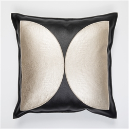 Oppose Pillow, Molly M, metallic, platinum, black, pillow, leather, square, Molly M designs