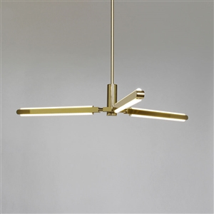 Pris Y LED Pendant Chandelier in Satin Brass Finish