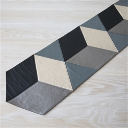 leather runner, table runner, black, light grey, gunmetal, platinum, leather, Molly M designs, Molly M, entertaining, table wear, tableware, table accessories