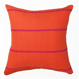 handwoven pillow in orange and fuchsia