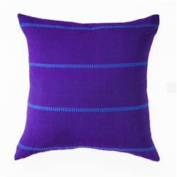 handwoven pillow in purple and blue