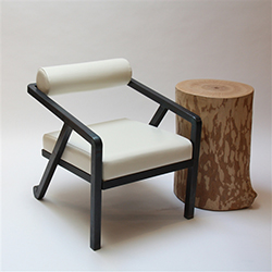 Bolster Chair Burnt Metal Finish