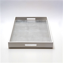 Lacquered Breakfast Tray White/Silver