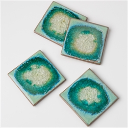 Geode Crackle Coasters Aqua