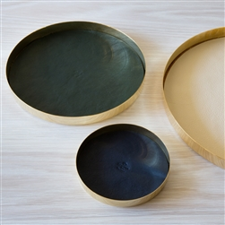 karui tray, tray, serving tray, circular tray, metallic tray, ivory, tray, leather interior, leather, metallic, dark blue, dark green, circle tray, circle