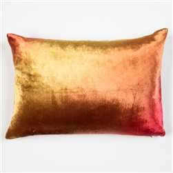 velvet pillow, velvet, silk, kevin o'brien, pillow, pink, gold, orange, yellow, hand, painted