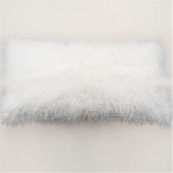 "Tibetan Lumbar Fur Pillow Natural White 22"" x 12"""