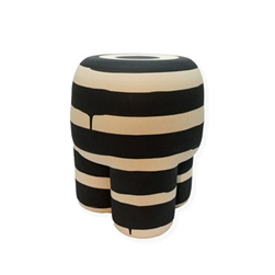 black and beige stripped hand-made stoneware milking stool matte finish