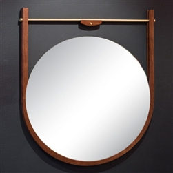 Moana Mirror, Walnut with Brass Hardware