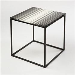 Hand-made contemporary Modjulez cream color glass top table with powder coated white steel base for sale in Bridgehampton, the Hamptons and the USA