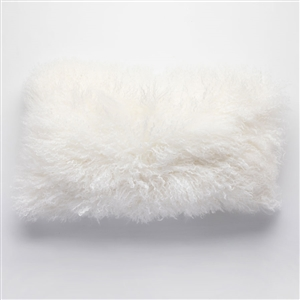 "Tibetan Lumbar Fur Pillow Natural 22"" x 12"""