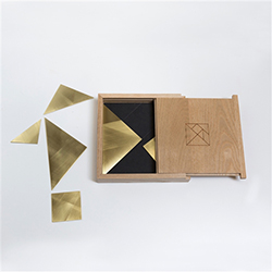 Tangram Brass Trivet and Puzzle Set