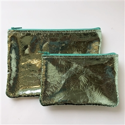 M leather pouch flat mint foil