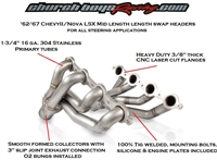 1962-1967 ChevyII/Nova LSx Mid Length Swap Headers