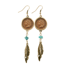 100 Year Old Indian Head Penny Feather Goldtone Earrings