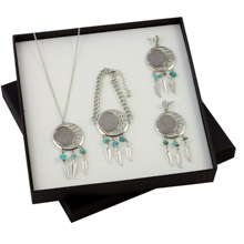 Buffalo Nickel Dreamcatcher Necklace, Bracelet and Earrings Boxed Gift Set