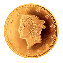 Tribute to America's Most Beautiful Coins - Liberty Head Gold $1 1849-1854 Replica Coin