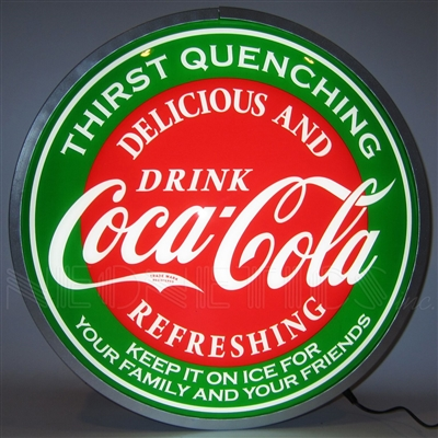 15 INCH BACKLIT LED LIGHTED SIGN COCA-COLA EVERGREEN