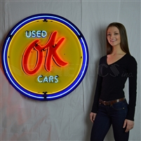 OK USED CARS NEON SIGN IN 36″ STEEL CAN