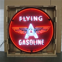 GAS – FLYING A GASOLINE NEON SIGN IN 36″ STEEL CAN