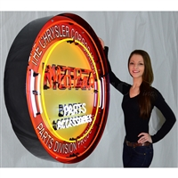 MOPAR CIRCLE RED NEON SIGN IN 36″ STEEL CAN