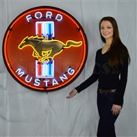 MUSTANG RED NEON SIGN IN 36″ STEEL CAN