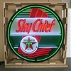 TEXACO SKY CHIEF NEON SIGN IN 36″ STEEL CAN