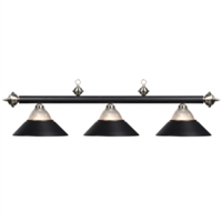 Matte Black & Stainless Three-light Billiard Pendant Light