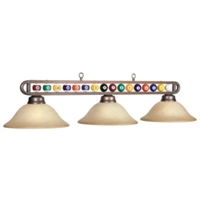 Billiard Balls 3-Light Frosted Glass Bronze Pendant Light