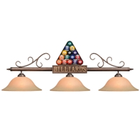 Racked Balls Three-Light Billiard Pendant Light