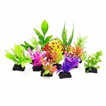 AquaTop Plastic Freshwater Aquarium Plant 12 Pack (small weeds), Assorted Colors, 3""