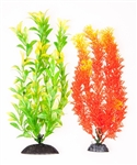 "AquaTop Plastic Freshwater Aquarium Plants, 2-Pack Multi-Colored, Orange & Green, 10"" tall"