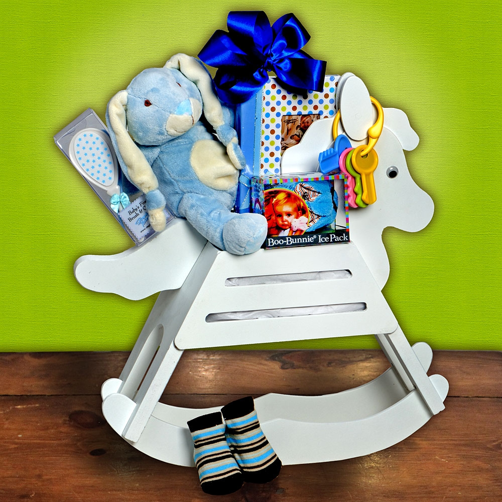 Personalized Baby Gift Baskets Rocking Horse : Rock a bye baby rocking horse gift basket