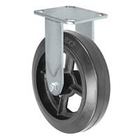 "8"" x 2"" Inch Rigid Caster - Mold-On Rubber Wheel - 600 Lbs Capacity,"