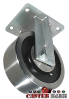 "8"" x 4"" Kingpinless Rigid Caster - Forged Steel Wheel - 18,000 Lbs Capacity"