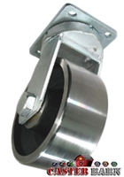 "12"" x 4"" Kingpinless Swivel Caster - Forged Steel Wheel - 20,000 Lbs Capacity"