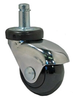 "2"" Black Polyurethane LUX Chrome Furniture Caster"