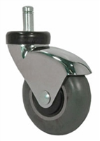 "3"" Gray Rubber - Chrome LUX Furniture Caster"
