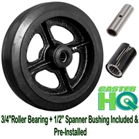 "8"" x 2-1/2"" Rubber on Cast Iron Wheel - 850 lbs cap."