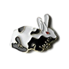 White/Black Red Eye Bunny Lapel Pin/Tie Tack