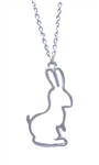 Silver Silhouette Bunny Necklace