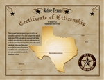 Native Texan Certificate